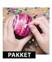 Zelf kerstballen maken met pailletten 7 cm trend