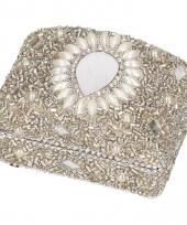 Zilver bewaardoosje oriental rechthoek 8 cm trend