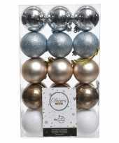 Zilver bruin witte kerstversiering kerstballenset kunststof 6 cm trend
