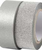 Zilver glitter tape 2 rollen trend