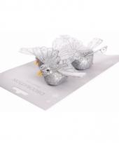 Zilver glitter vogeltje 10 cm trend