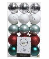 Zilver groen rode kerstversiering kerstballenset kunststof 6 cm trend