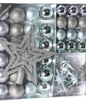 Zilver ijsblauwe kerstversiering kerstballen set 45 delig trend