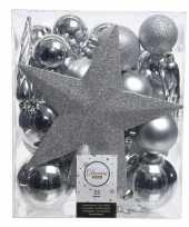 Zilver kerstballen pakket met piek 33 stuks trend