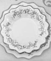 Zilveren bruiloft bordjes 27 cm trend