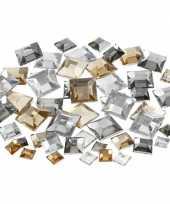 Zilveren diamanten stenen vierkant trend