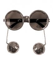 Zilveren disco bril met discoballen trend