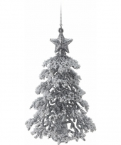 Zilveren glitter kerstboom 16 cm trend