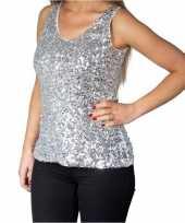 Zilveren glitter pailletten disco topje mouwloos shirt dames trend