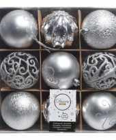 Zilveren kerstversiering kerstballen set van kunststof 9 stuks trend