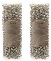 Zilveren kralenslinger kerstslinger 10 mtr 2 stuks trend