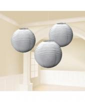 Zilveren lampionnen drie stuks 24 cm trend