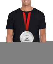 Zilveren medaille kampioen shirt zwart heren trend