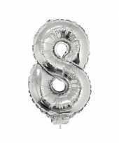 Zilveren opblaas cijfer 8 op stokje 41 cm trend