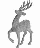 Zilveren rendieren hertjes deco kersthangers van 17 cm trend