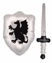 Zilveren ridder set opblaasbaar trend