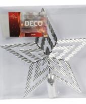 Zilveren ster piek kerstboomversiering 21 cm trend