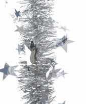 Zilveren sterren lametta guirlande 270 cm trend