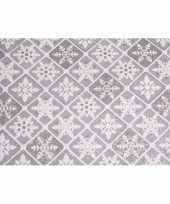 Zilveren stof met glitters 30 x 270 cm ruit patroon trend