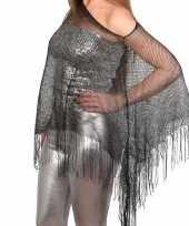 Zilveren visnet poncho omslagdoek stola dames trend