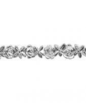 Zilverkleurig bloemenlintje van was 24 cm trend
