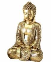 Zittend boeddha beeld goud 39 cm trend