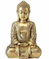 Zittend boeddha beeld goud 70 cm trend