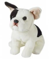 Zittend honden knuffeltje franse bulldog 23 cm met kraalogen trend