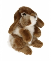 Zittend konijnen knuffeltje bruin 18 cm met kraalogen trend