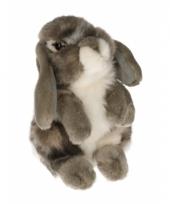 Zittend konijnen knuffeltje grijs 18 cm met kraalogen trend