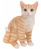 Zittende katten beeldje oranje 29 cm trend