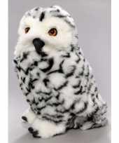Zittende pluche knuffel sneeuwuil 30 cm trend
