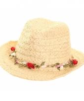 Zomer trilby hoed voor dames met roosjes trend