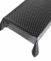 Zwart buiten tafelkleed tafelzeil polkadot 140 x 170 cm trend