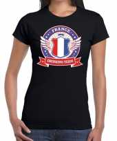 Zwart france drinking team t-shirt dames trend