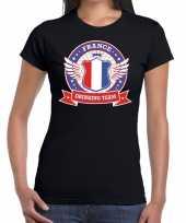 Zwart france drinking team t-shirt dames trend