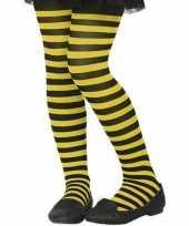 Zwart gele verkleed panty voor kinderen trend