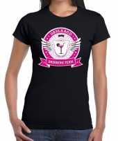 Zwart geslaagd drinking team t-shirt dames trend