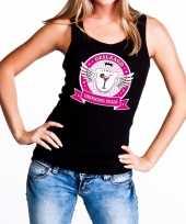 Zwart geslaagd drinking team tanktop mouwloos shirt dames trend
