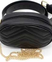 Zwart gestikt heuptasje schoudertasje 19 cm voor meisjes dames trend