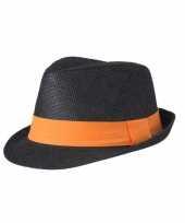 Zwart gevlochten hoedje met contrasterende band trend 10041781