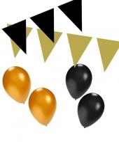 Zwart gouden feest versiering pakket small trend