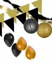 Zwart gouden feest versiering pakket xxl trend