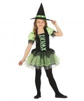 Zwart groen heksen kostuum voor meisjes trend