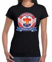 Zwart holland drinking team t-shirt dames trend
