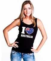 Zwart i love australie fan singlet-shirt tanktop dames trend