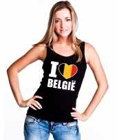 Zwart i love belgie fan singlet-shirt tanktop dames trend