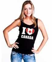Zwart i love canada fan singlet-shirt tanktop dames trend