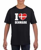 Zwart i love denemarken fan shirt kinderen trend
