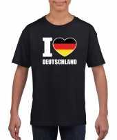 Zwart i love duitsland fan shirt kinderen trend